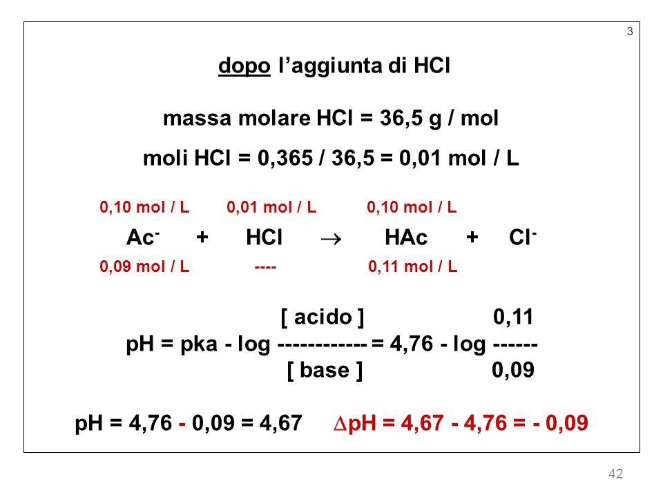 massa molare HCl = 36,5 g / mol moli HCl = 0,365 / 36,5 = 0,01 mol / L