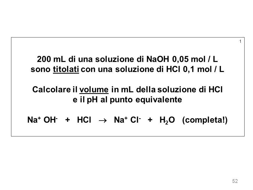 200 mL di una soluzione di NaOH 0,05 mol / L