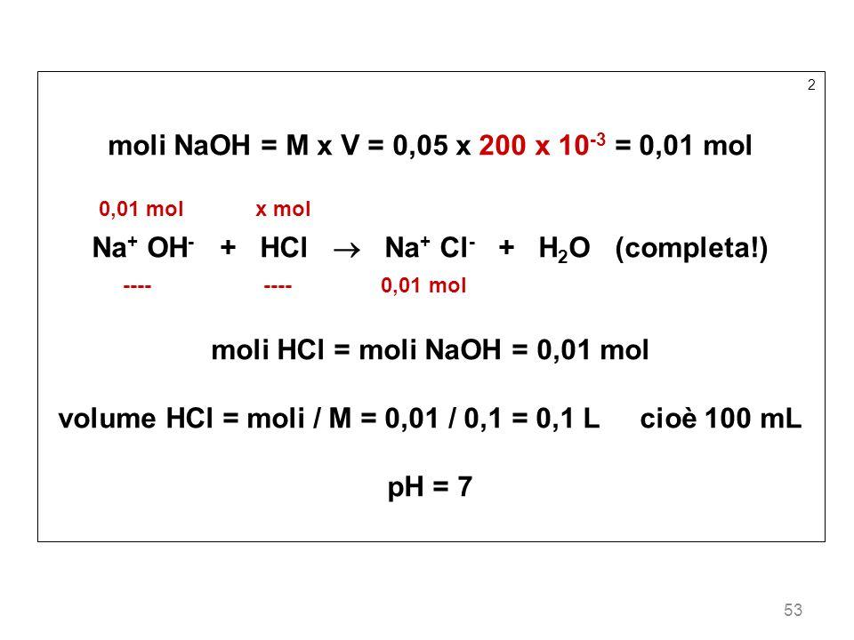 moli NaOH = M x V = 0,05 x 200 x 10-3 = 0,01 mol