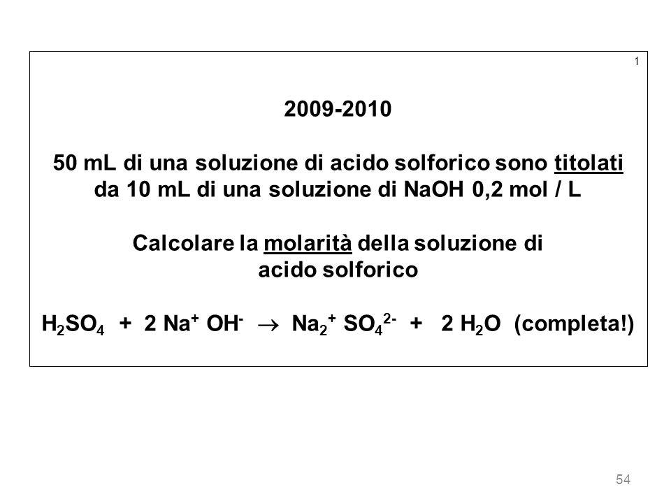 50 mL di una soluzione di acido solforico sono titolati