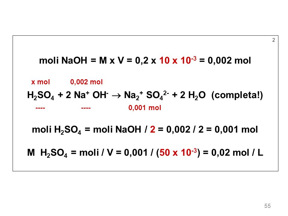 moli NaOH = M x V = 0,2 x 10 x 10-3 = 0,002 mol
