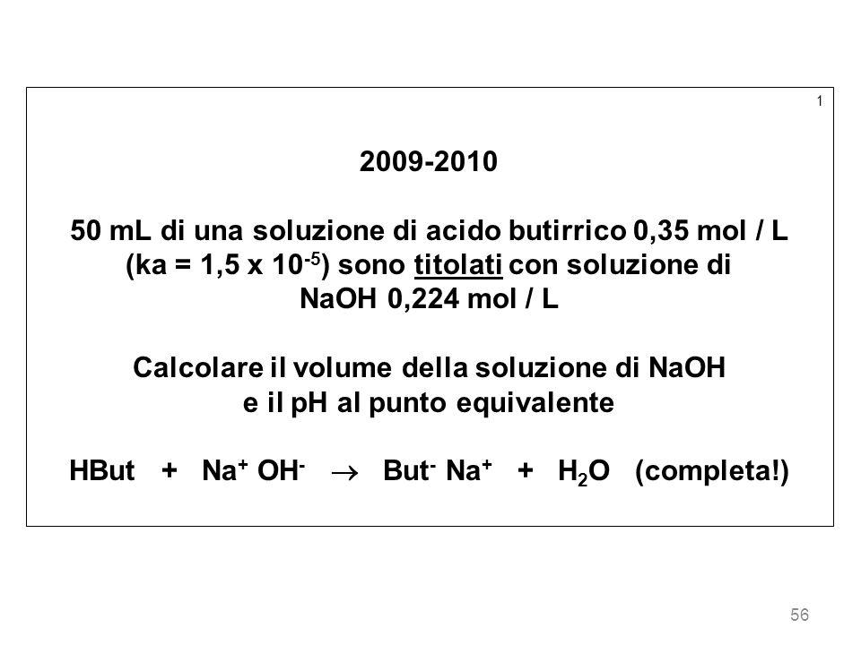 50 mL di una soluzione di acido butirrico 0,35 mol / L