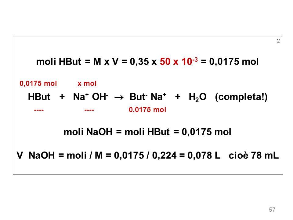 moli HBut = M x V = 0,35 x 50 x 10-3 = 0,0175 mol