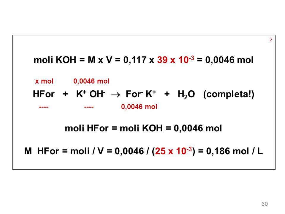 HFor + K+ OH-  For- K+ + H2O (completa!)