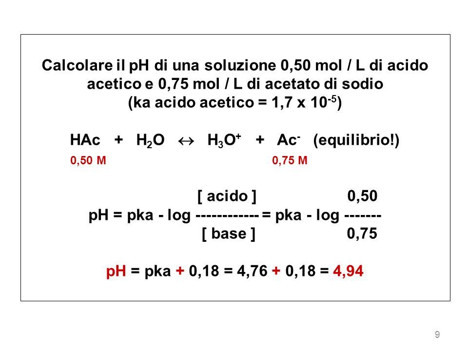 HAc + H2O  H3O+ + Ac- (equilibrio!)