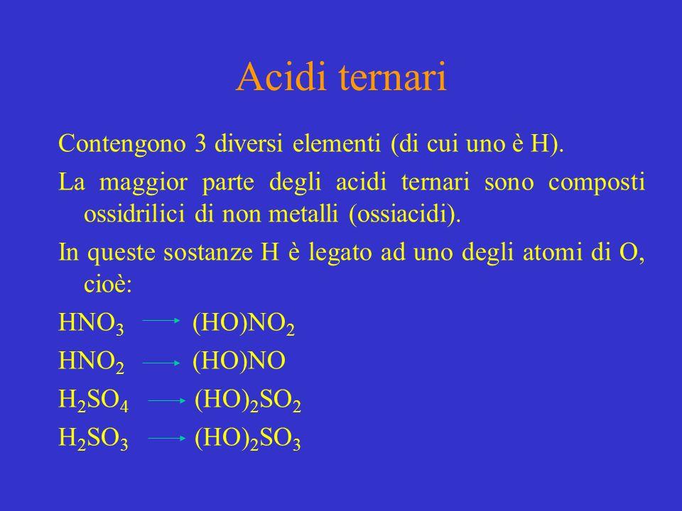 Acidi ternari Contengono 3 diversi elementi (di cui uno è H).