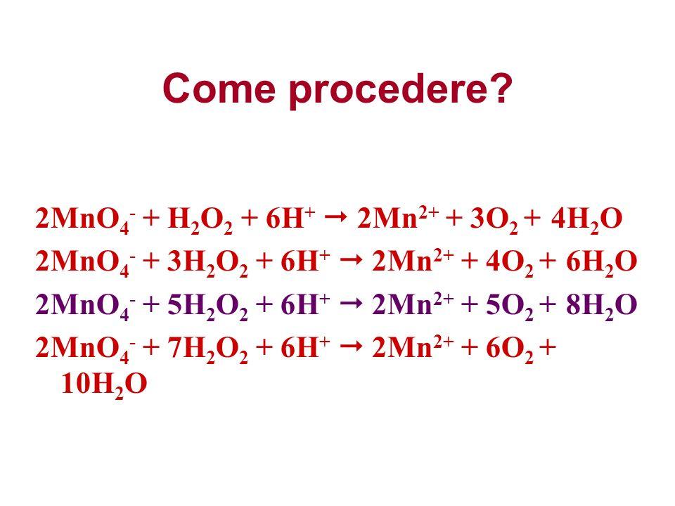 Come procedere 2MnO4- + H2O2 + 6H+  2Mn2+ + 3O2 + 4H2O