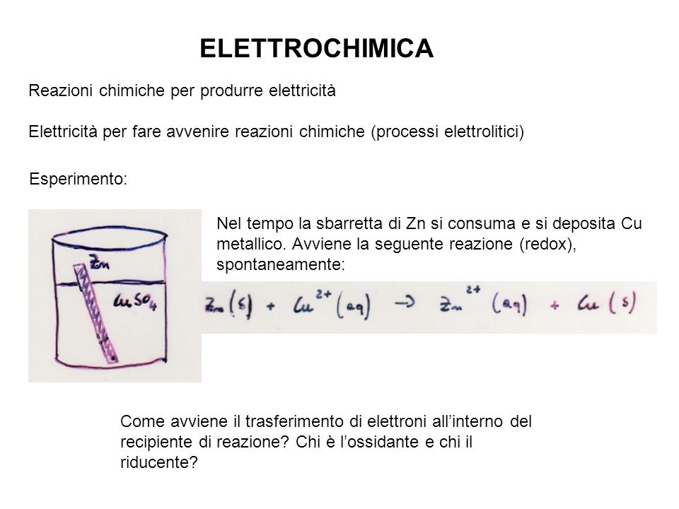 ELETTROCHIMICA Reazioni chimiche per produrre elettricità