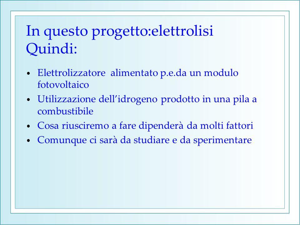 In questo progetto:elettrolisi Quindi: