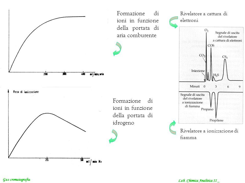 Formazione di ioni in funzione della portata di aria comburente