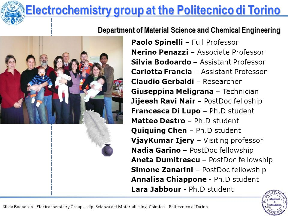 Electrochemistry group at the Politecnico di Torino