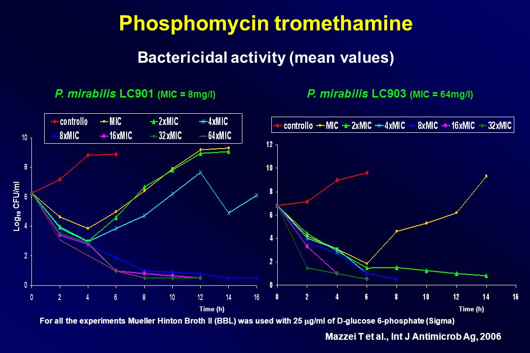 Phosphomycin tromethamine Bactericidal activity (mean values)