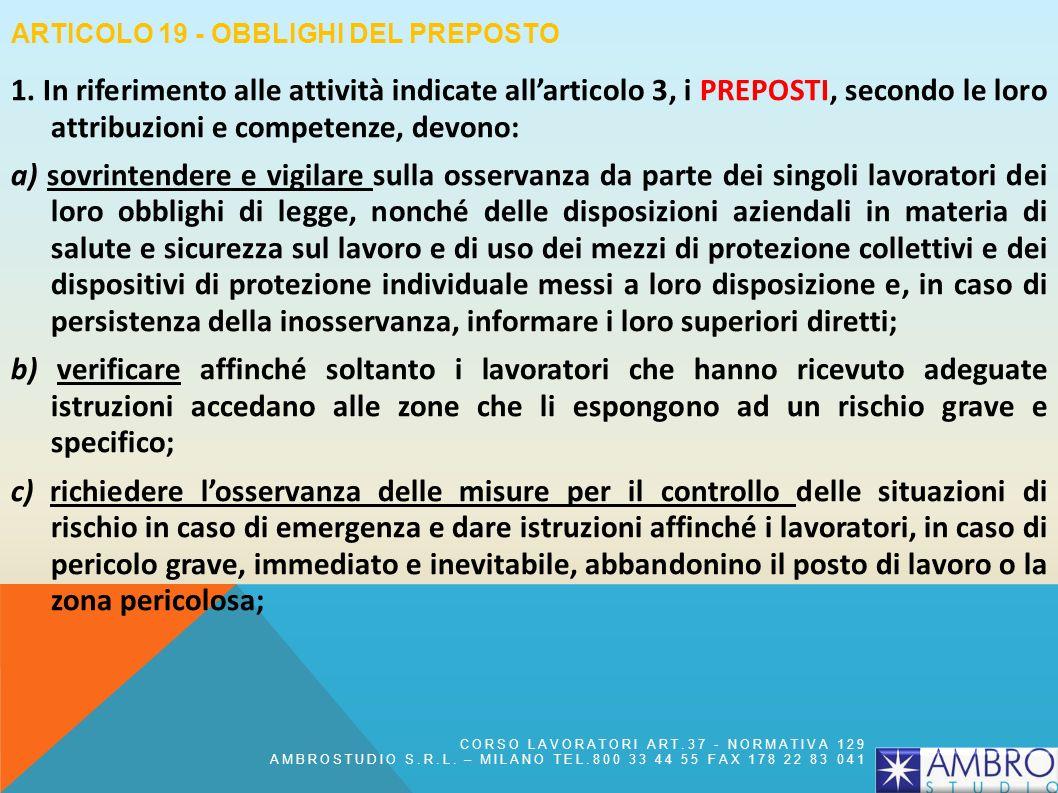 Articolo 19 - Obblighi del preposto