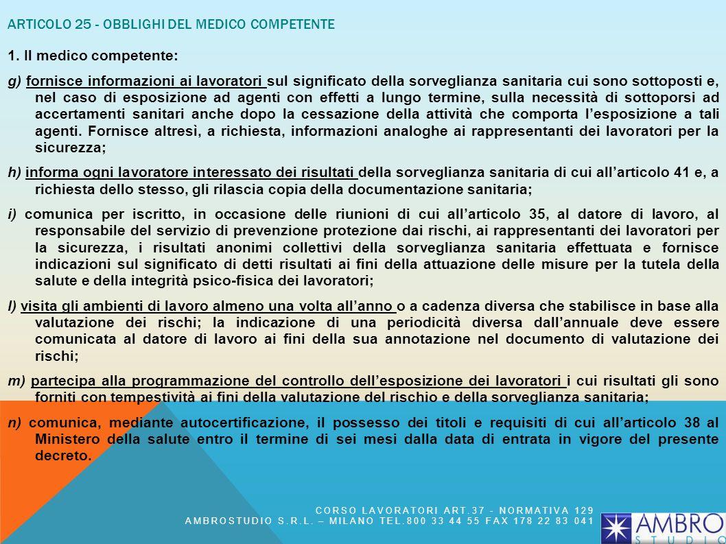 Articolo 25 - Obblighi del medico competente