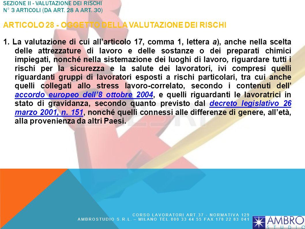 SEZIONE II - VALUTAZIONE DEI RISCHI N° 3 articoli (da art. 28 a art