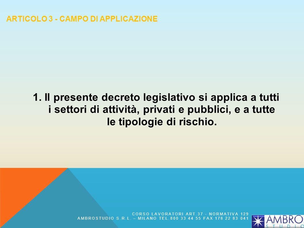 Articolo 3 - Campo di applicazione