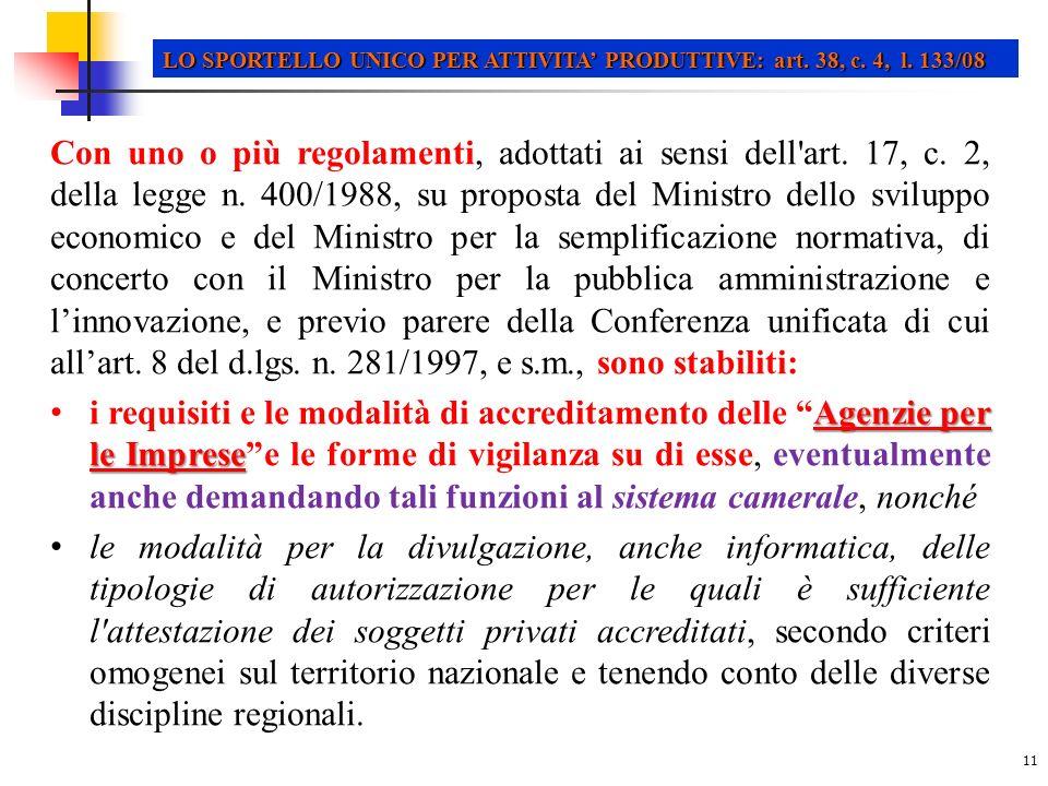 LO SPORTELLO UNICO PER ATTIVITA' PRODUTTIVE: art. 38, c. 4, l. 133/08