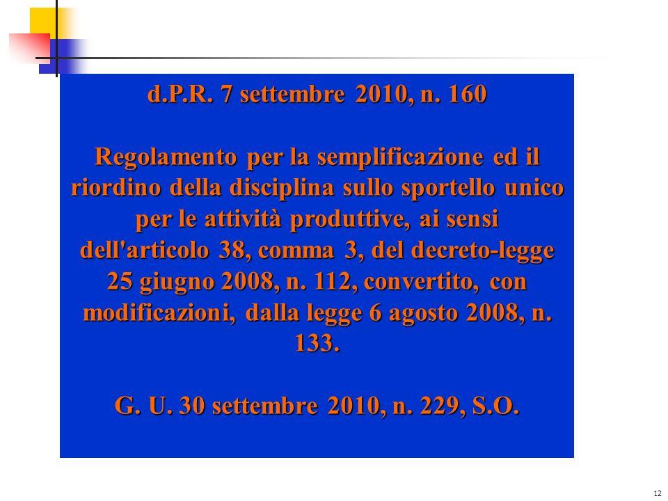 d.P.R. 7 settembre 2010, n. 160