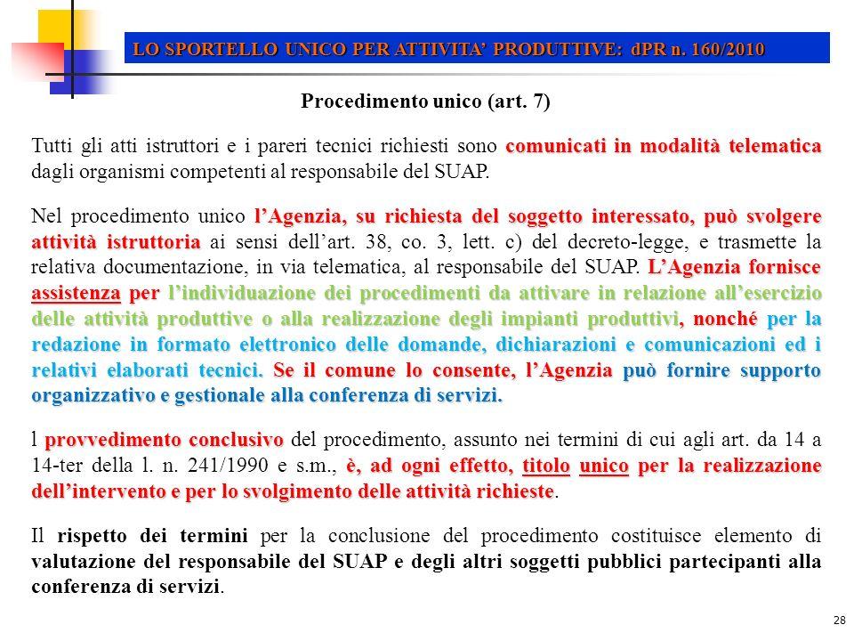 Procedimento unico (art. 7)