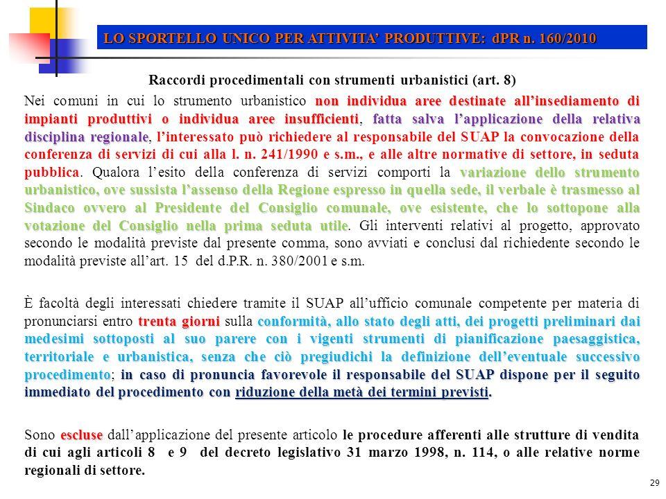 Raccordi procedimentali con strumenti urbanistici (art. 8)