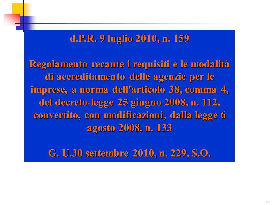 d.P.R. 9 luglio 2010, n. 159