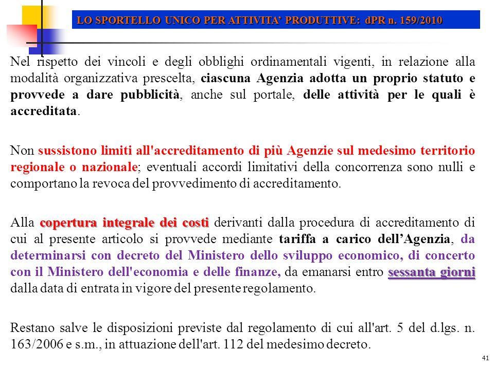 LO SPORTELLO UNICO PER ATTIVITA' PRODUTTIVE: dPR n. 159/2010