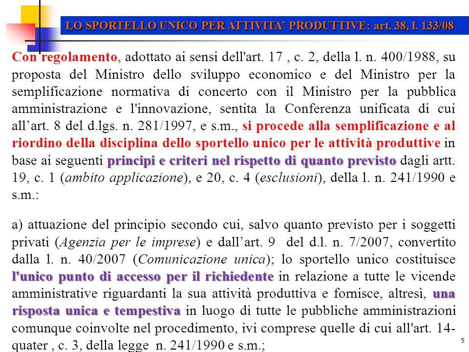 LO SPORTELLO UNICO PER ATTIVITA' PRODUTTIVE: art. 38, l. 133/08