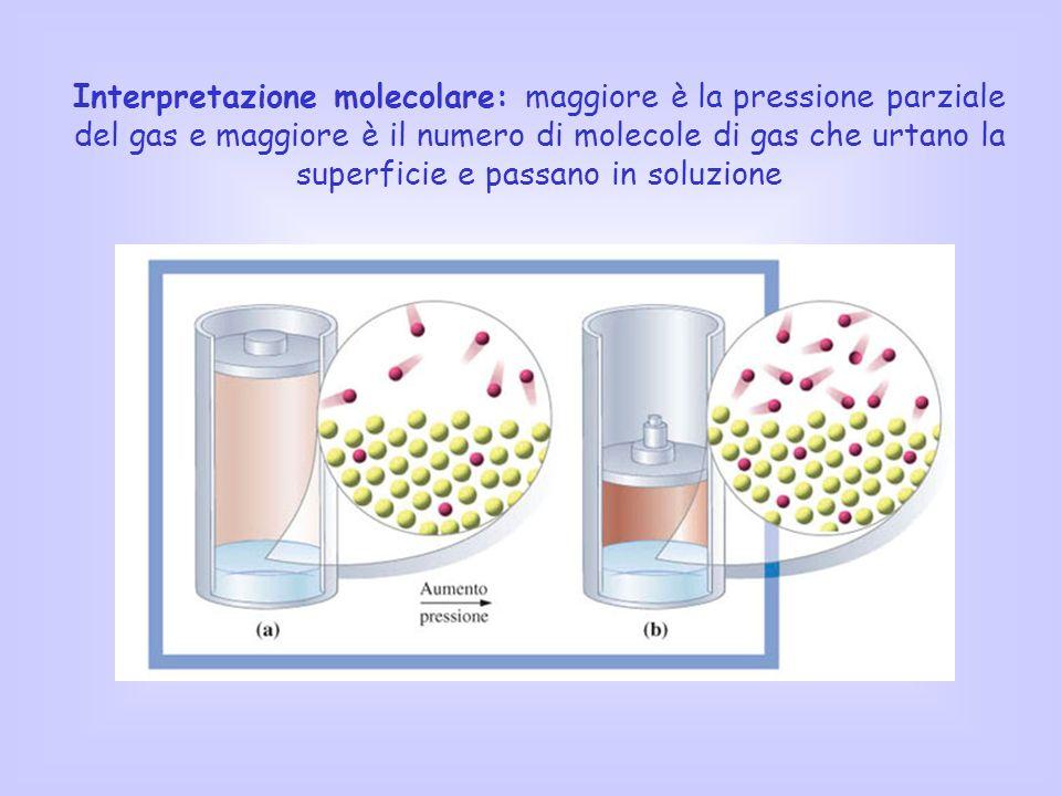 Interpretazione molecolare: maggiore è la pressione parziale del gas e maggiore è il numero di molecole di gas che urtano la superficie e passano in soluzione