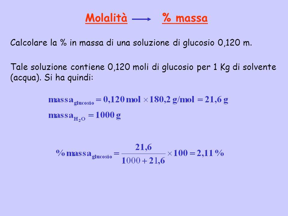 Molalità % massa Calcolare la % in massa di una soluzione di glucosio 0,120 m.