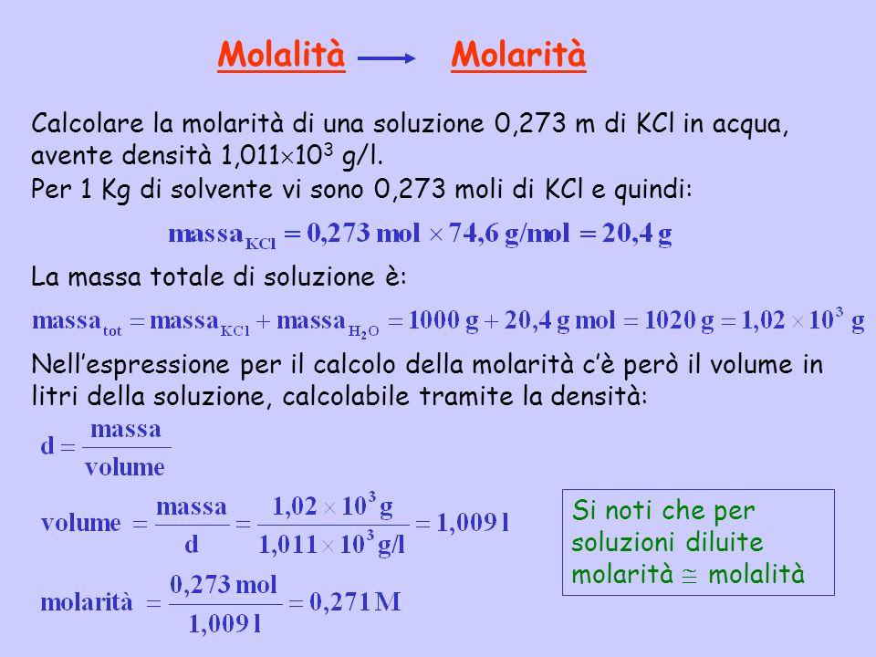 Molalità Molarità Calcolare la molarità di una soluzione 0,273 m di KCl in acqua, avente densità 1,011103 g/l.