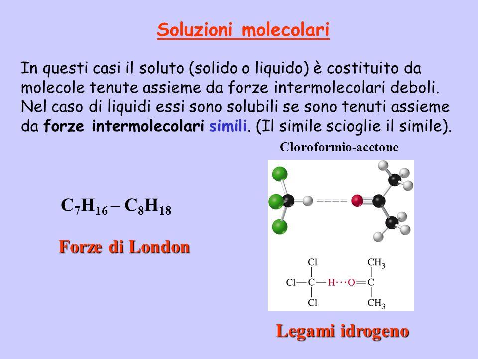 Soluzioni molecolari C7H16 – C8H18 Forze di London Legami idrogeno