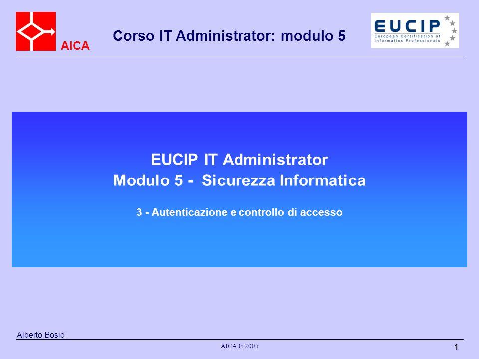 EUCIP IT Administrator Modulo 5 - Sicurezza Informatica 3 - Autenticazione e controllo di accesso