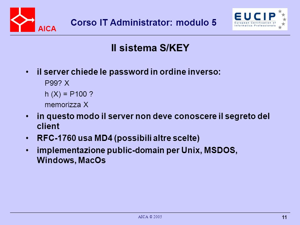 Il sistema S/KEY il server chiede le password in ordine inverso: