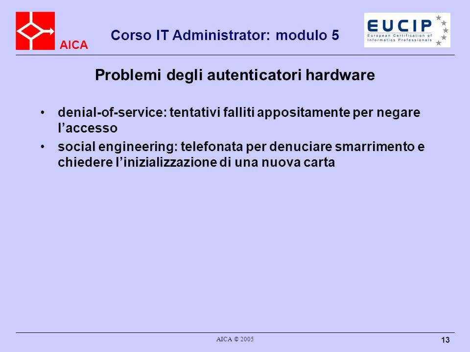 Problemi degli autenticatori hardware