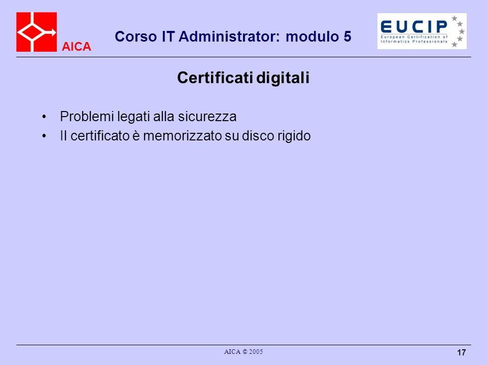 Certificati digitali Problemi legati alla sicurezza