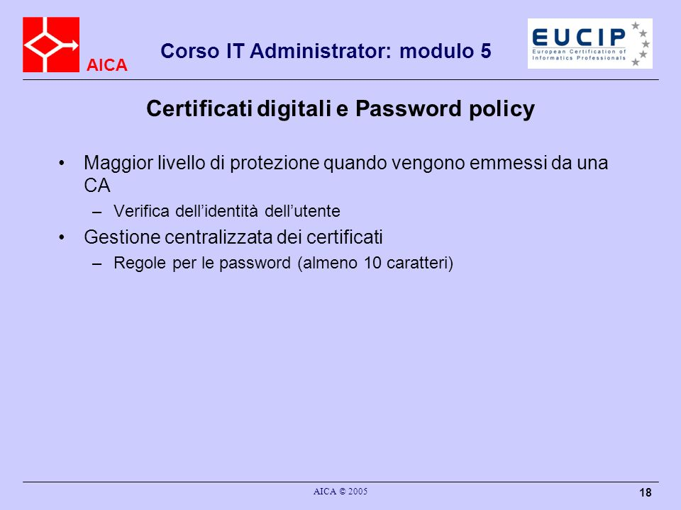 Certificati digitali e Password policy