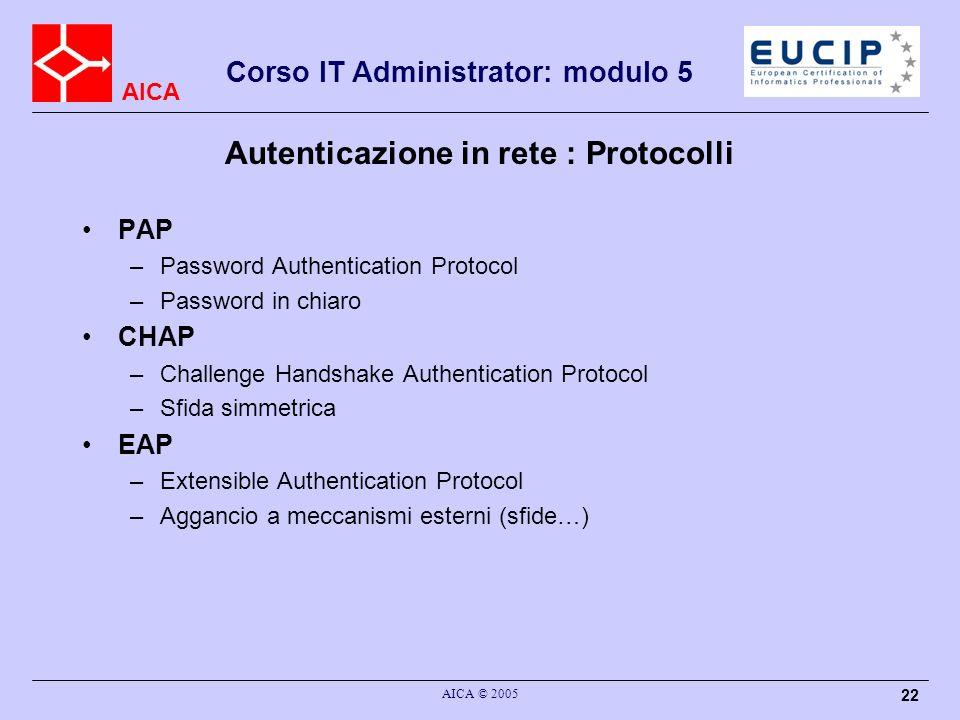 Autenticazione in rete : Protocolli