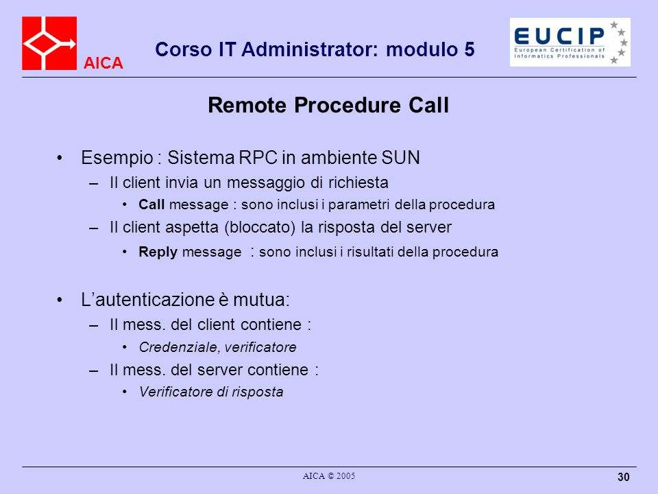 Remote Procedure Call Esempio : Sistema RPC in ambiente SUN