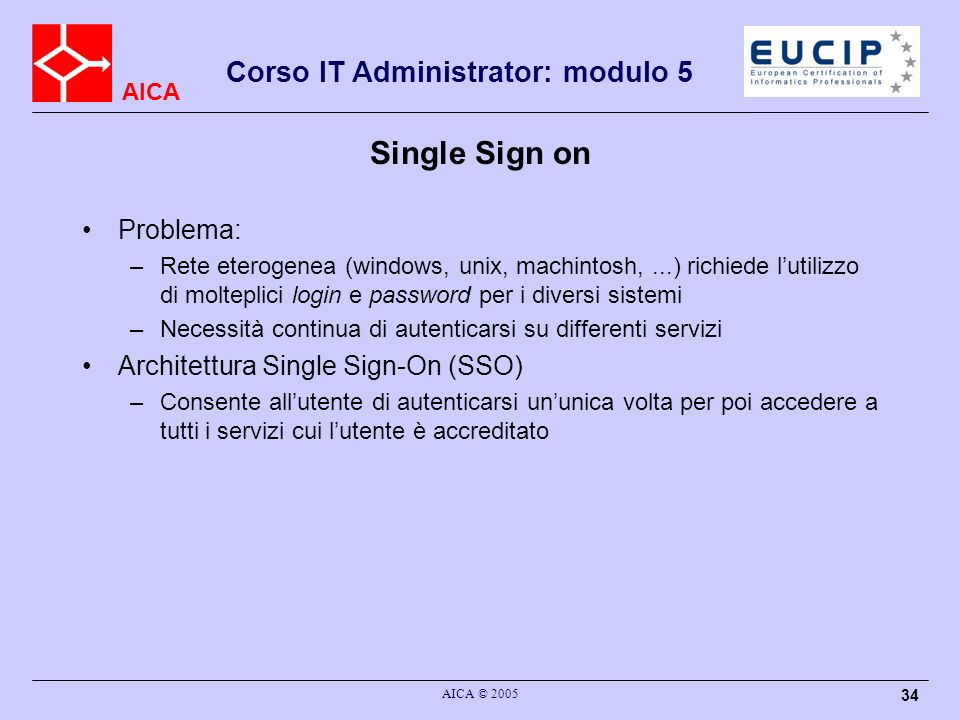 Single Sign on Problema: Architettura Single Sign-On (SSO)