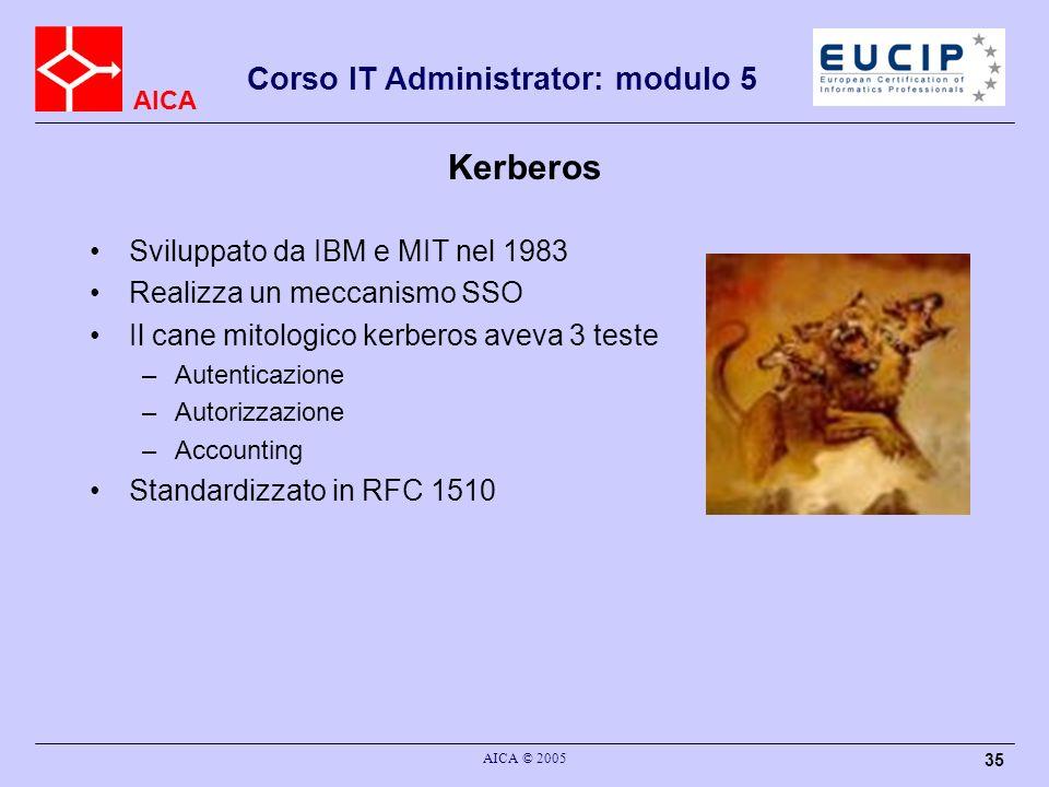 Kerberos Sviluppato da IBM e MIT nel 1983 Realizza un meccanismo SSO