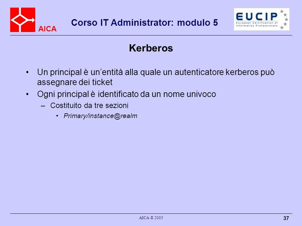 Kerberos Un principal è un'entità alla quale un autenticatore kerberos può assegnare dei ticket. Ogni principal è identificato da un nome univoco.