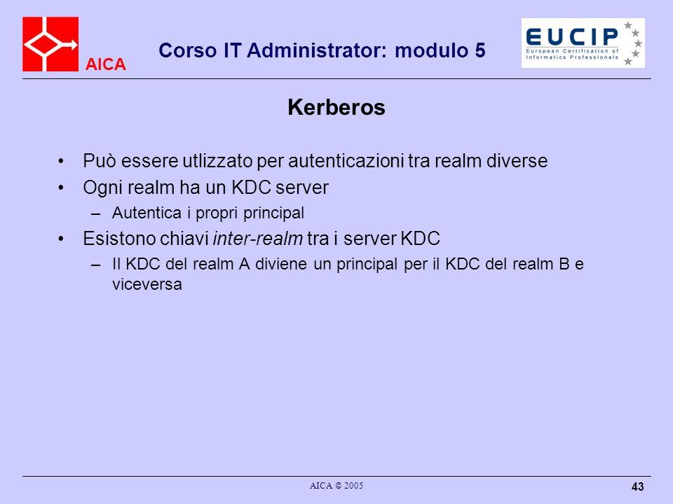 Kerberos Può essere utlizzato per autenticazioni tra realm diverse