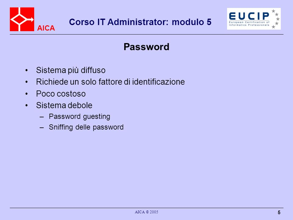 Password Sistema più diffuso