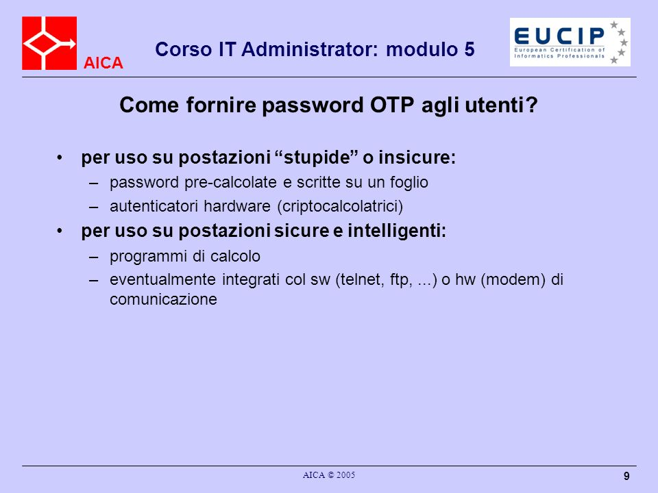 Come fornire password OTP agli utenti