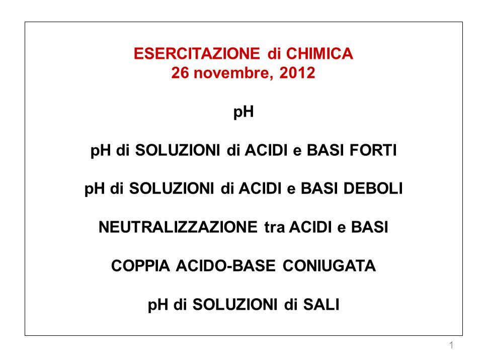 ESERCITAZIONE di CHIMICA 26 novembre, 2012 pH