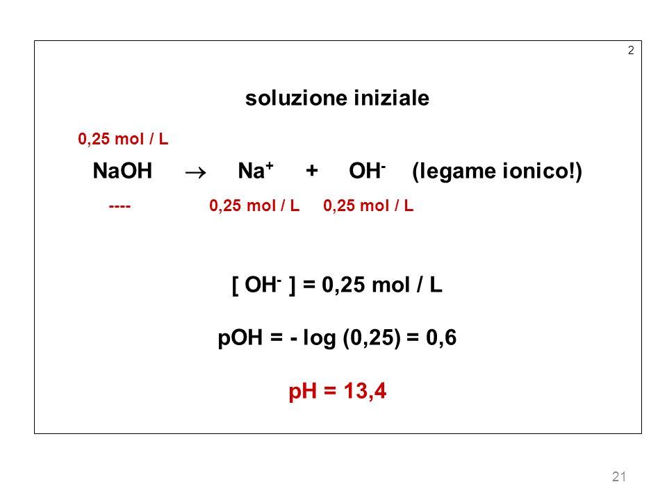 NaOH  Na+ + OH- (legame ionico!)
