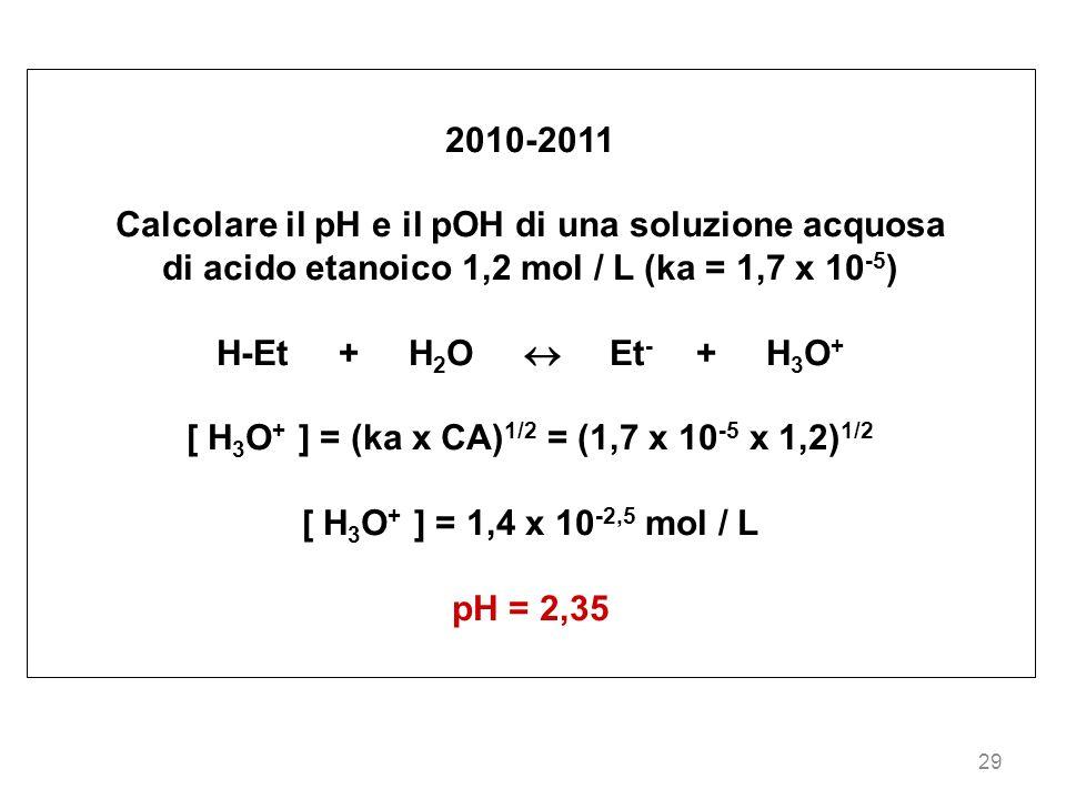 Calcolare il pH e il pOH di una soluzione acquosa
