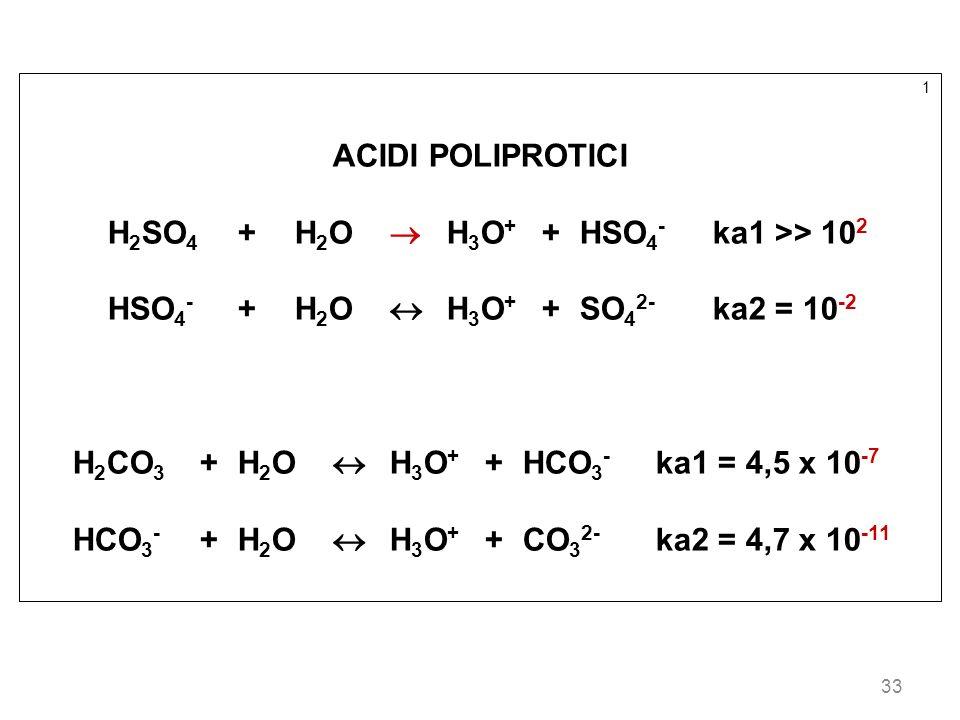 H2SO4 + H2O  H3O+ + HSO4- ka1 >> 102