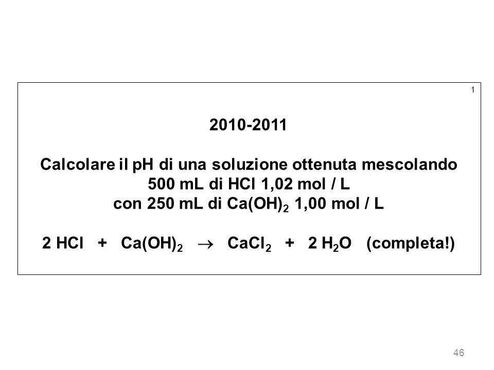 Calcolare il pH di una soluzione ottenuta mescolando
