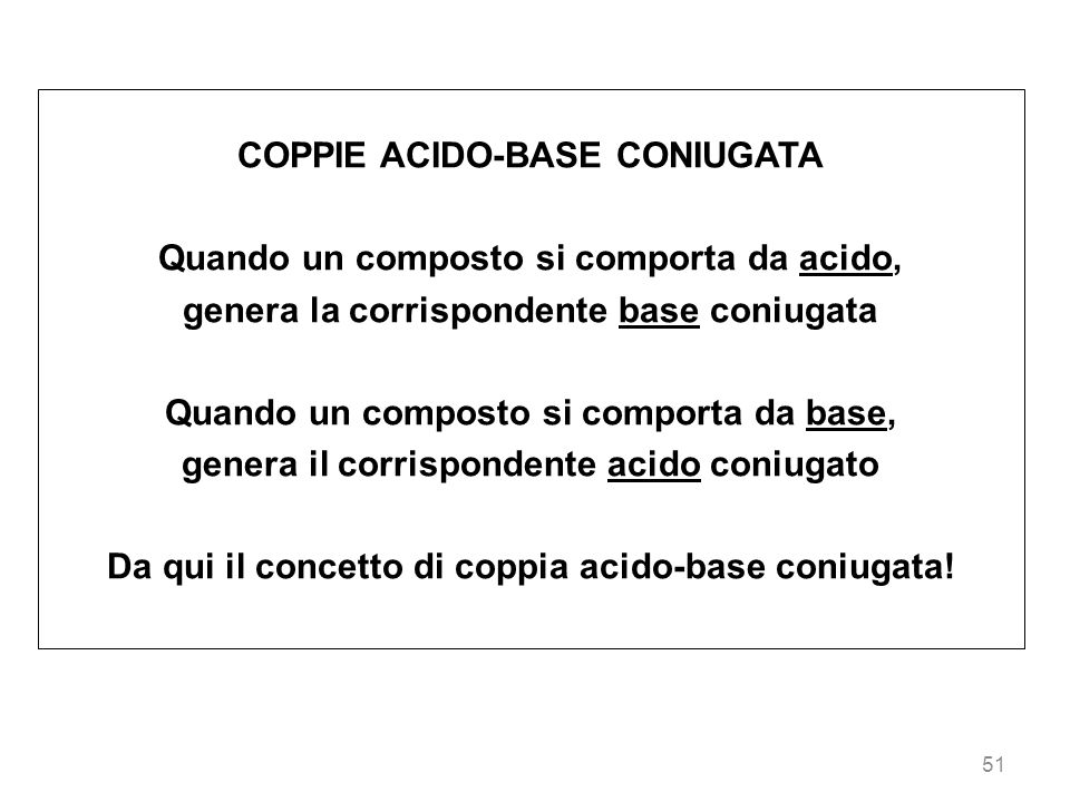 COPPIE ACIDO-BASE CONIUGATA Quando un composto si comporta da acido,